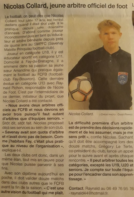 Nouvel Arbitre Officiel auFCFB